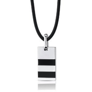 Stainless Steel Rectangular fashion Pendant with Onyx inlay on a Rubber Cord for Men