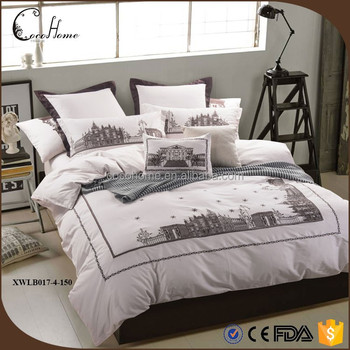 Modern Adult 220*240cm Home Choice Bedding Sets Jimmy Comics All White  Embroidered King Size