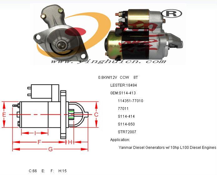 Auto Starter Motor Lester 18494 For Yanmar sel Generators W/ 10hp L100 on