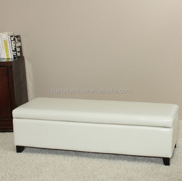 2015 Bonded Leather Ivory Storage Ottoman Bench Living Room Bench
