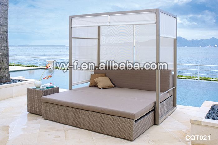 Villa stylish outdoor rattan sofa bed with cushion sofa day bed double two seater double decker - Double decker daybed ...