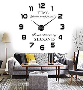 Reliable_E® 3D Large Inspirational Quotes Wall Sticker DIY Wall Clock for Home Decor (black)