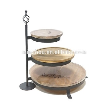 3 Tier Wood Tray Serving Plate For Home Kitchen And Bar