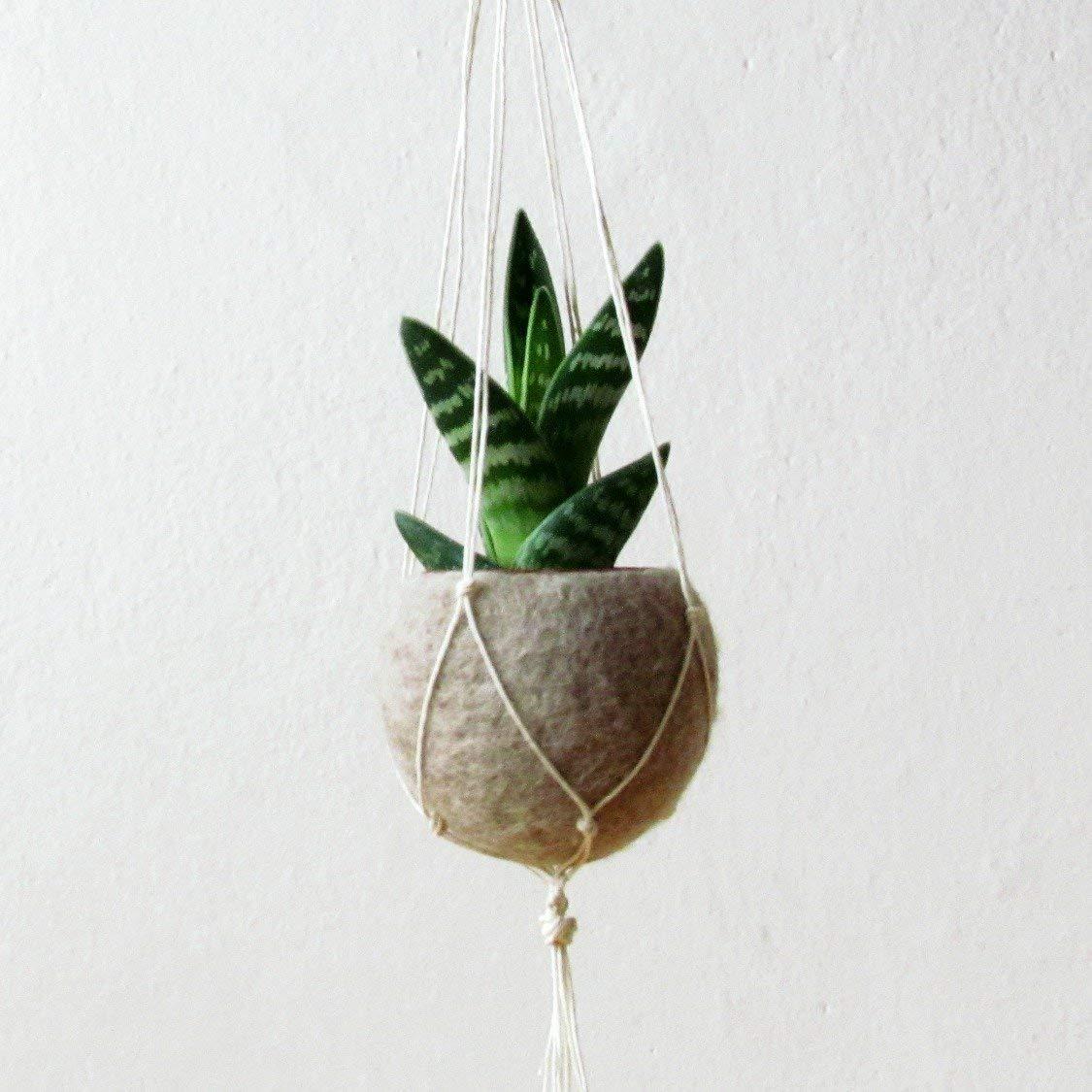 Hanging planter/Macrame plant hanger/Beige Felt planter/air plant vase/modern home decor/CHOOSE YOUR COLOR
