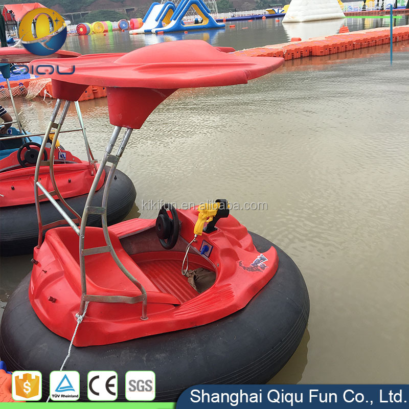 Fiberglass material amusement park water battery operated inflatable electric adult bumper boats with discounted price for sale