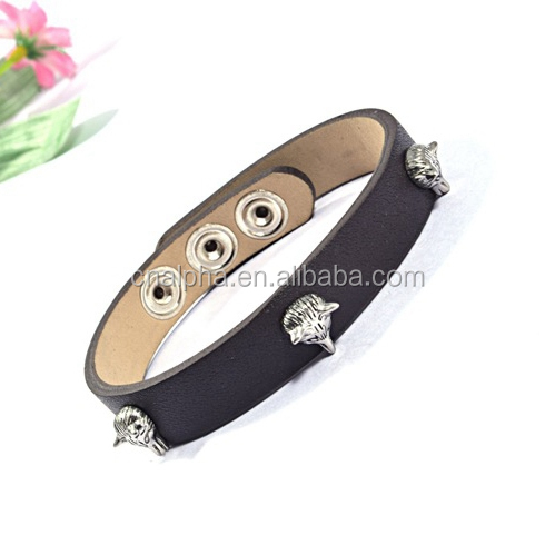 Real Leather Button Bracelet Antique Wolf Head Charms Snap Press Button Leather Bracelet RB116