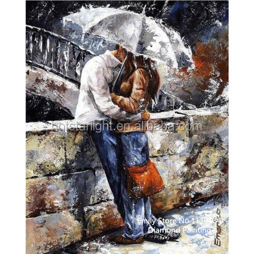Crafts Sale Diamond Embroidery Fashion Diy Diamond Painting Kit Inlaid Decorative Embroider Umbrella lover kiss