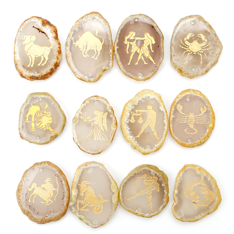 Natural gemstones 12 Constellations, Engraved Constellations Zodiac Agate for Jewelry Making