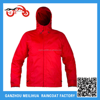 2016 Red outdoor women hooded rain jacket with front zipper