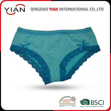 2017 Hot selling new design solid cotton women underwear with BSCI