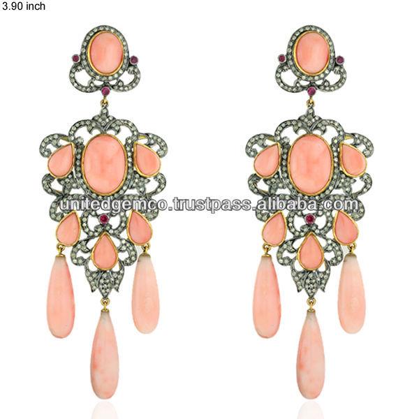 C Ruby Gemstone Chandelier Earrings 14k Gold Pave Diamond Designer