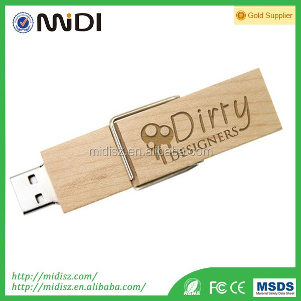 wooden USB 2.0 pen stick 1GB-64GB rectangular Usb Flash drive for gift