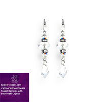 China Supplier 925 Sterling Silver Fashion Jewelry Vintage Tassel Earrings with Crystals from SWAROVSKI