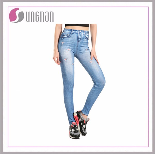 European style seamless tight jeggings with printing star