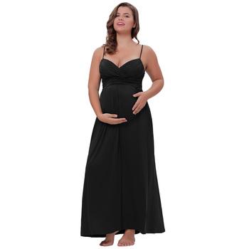 ad879ef58022b Kate Kasin Sexy Womens Comfortable Spaghetti Straps V-Neck Black Maxi  Maternity Dress KK000674-