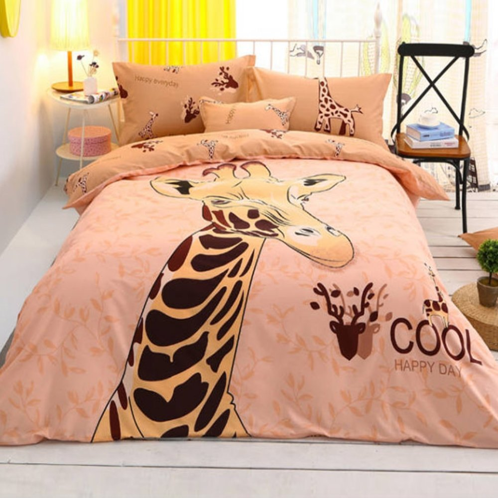 Alicemall 3D Animal Bedding Twin Lovely Giraffe Printing 4-Piece Duvet Cover Sets, Soft Cotton 4 pcs Bedding Set, Twin / Full Size (Twin)