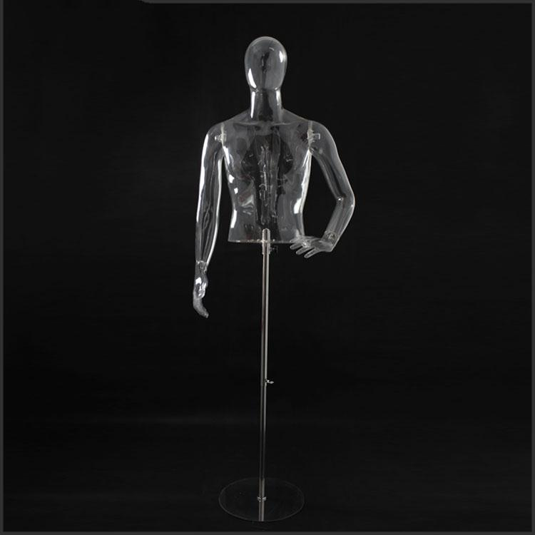 Half Body Transparent Stand Male Fiberglass Mannequins, Upper Body Mannequins For Male