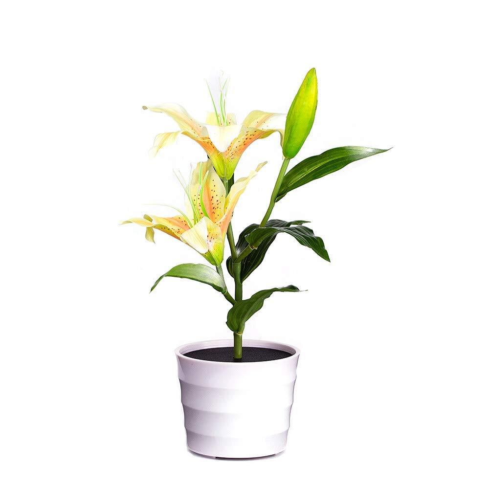 Solar Lily Flower Lights,Quaanti 2018 Bonsai Lights 2 LED Artificial Lily Pot Flower Bonsai LED Lamp Home Garden Creative Lighting (Yellow)