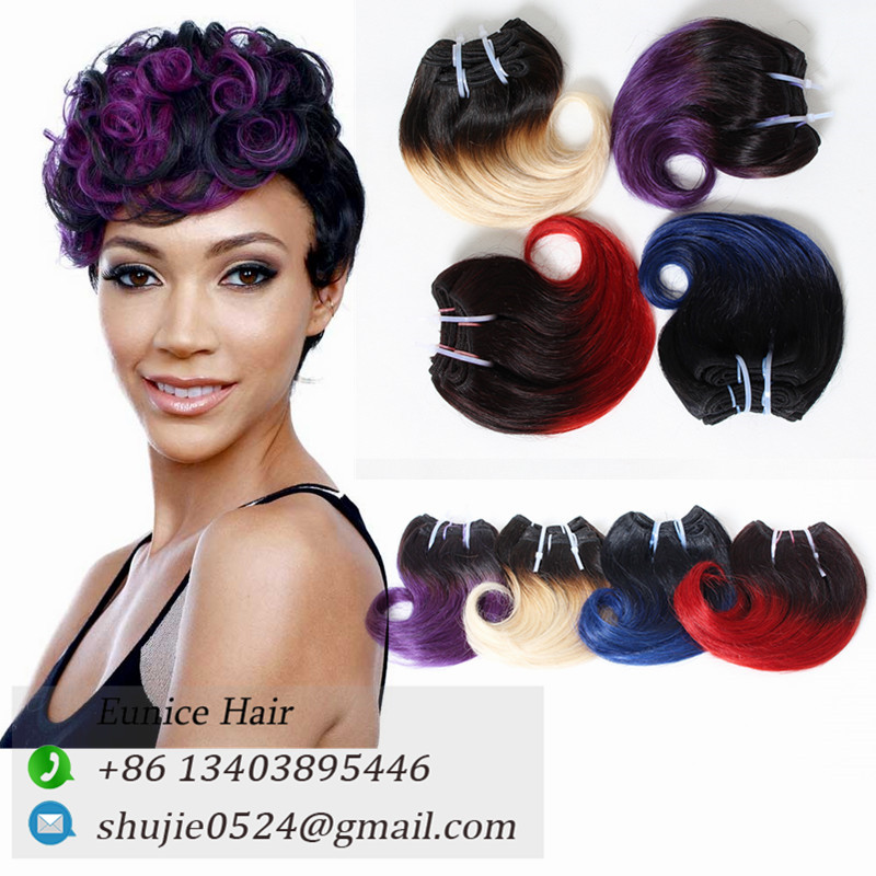 "ombre hair extensions Aunty Bouncy wave short hairstyles for women 8""inch boby Short Wave bob hair Ombre 1B/red/BUG wavy hair"