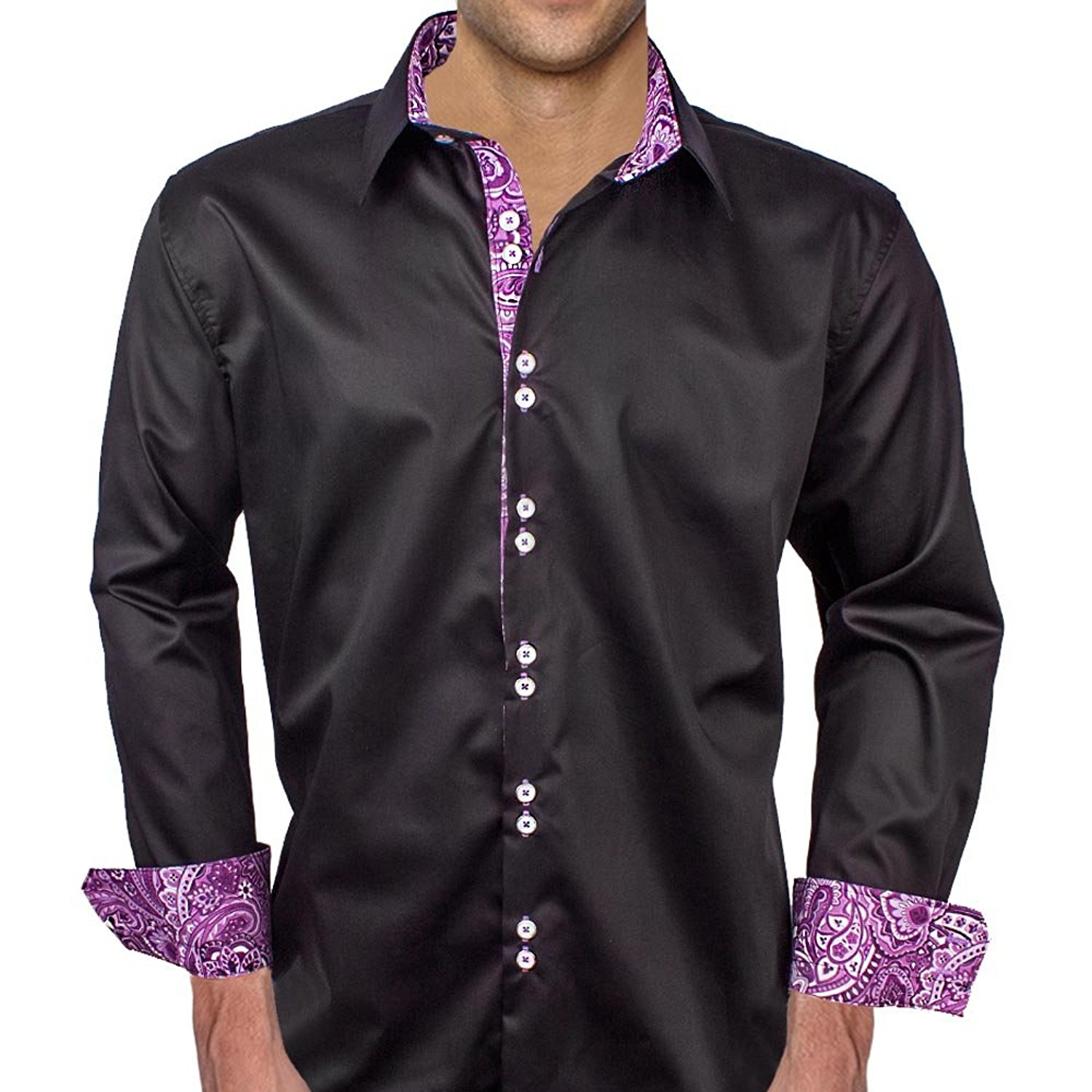 Buy Purple With Black Paisley Designer Dress Shirts Made In Usa In