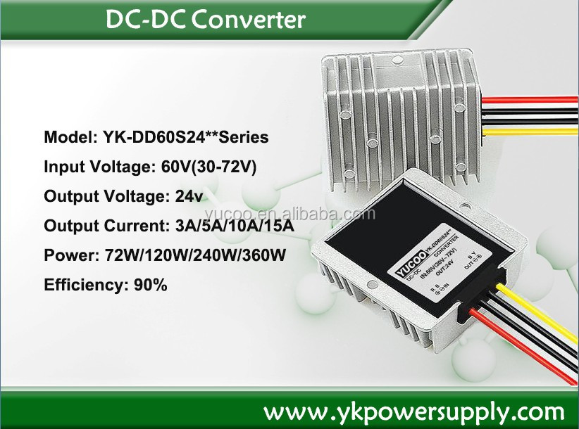YUCOO factory dc dc converter of Converter 24v to 12v 20A