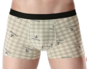 Cotton print mid-waist comfortable cotton men's boxer briefs