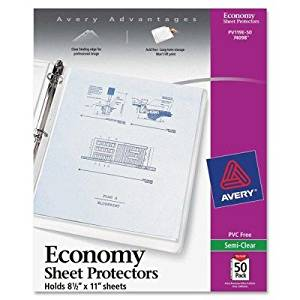 Avery Economy Weight Sheet Protector - Letter 8.50quot; x 11quot; - Rectangular - Polypropylene - 50 / Pack - Clear