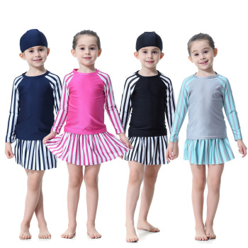 Stock 4 colors Fashion stripe Kids sweet style children muslim swimwear fashion modest islamic swimsuit