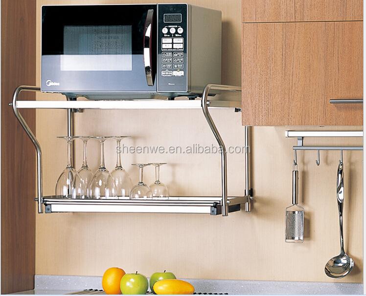 SWP011 Guangzhou Modular Kitchen Designs Kitchen Utensil Wall Rack  Micro Wave Oven Rack , Stainless