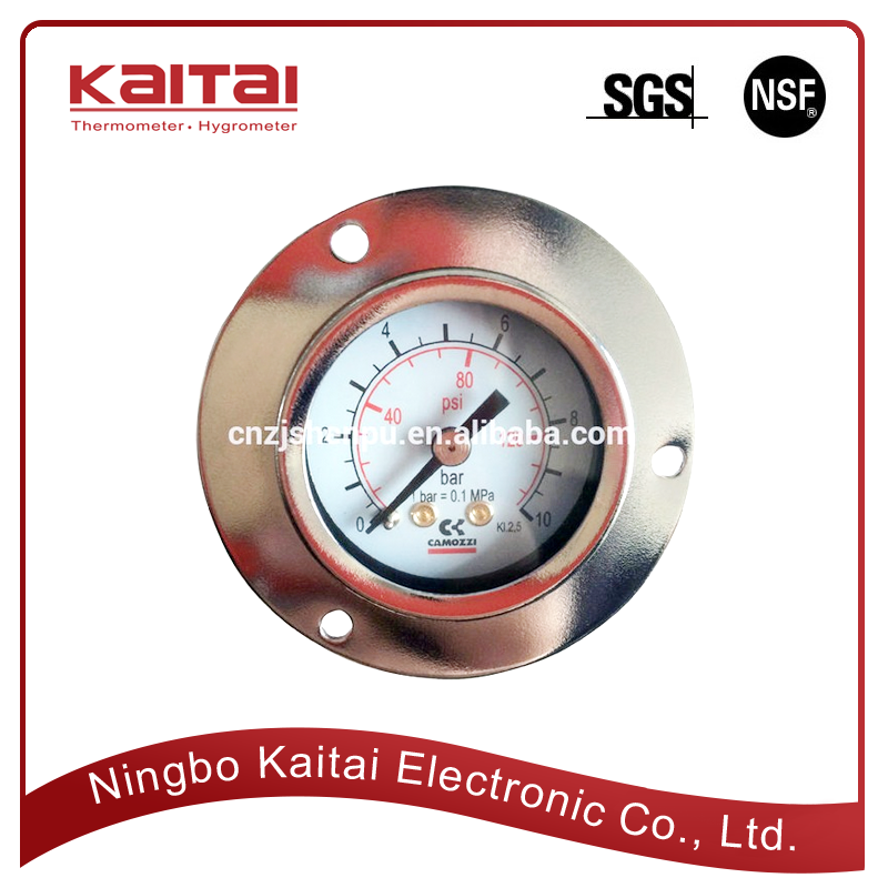 Bimetal dial hanging screw type back connection with front flange pressure gauge