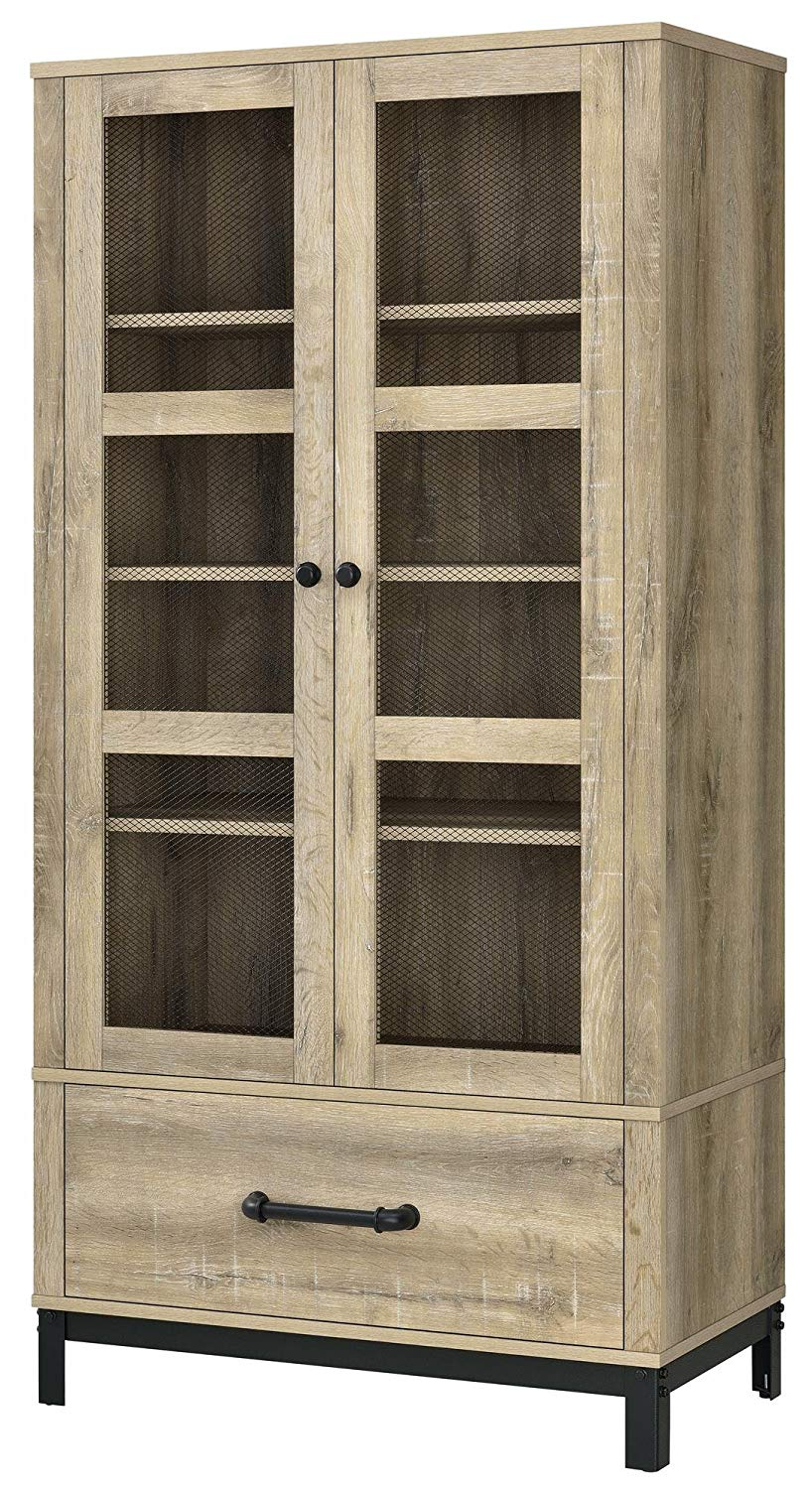 Extra Storage Home Cabinet, Natural, Laminated Particleboard and Metal, Light Brown Woodgrain Finish, 2 Adjustable and 2 Fixed Shelves, 2 Doors, Drawer, Rustic and Industrial, Stylish + Expert Guide