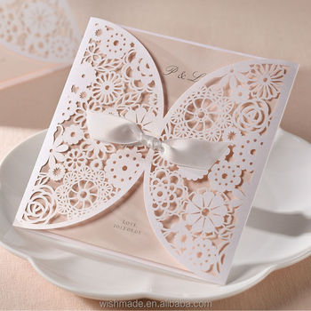 Wishmade Elegant Lace Engagement Invitation Card Laser Cut Bh2065 View Blank Insert Invitation Card Bhands Product Details From Wishmade Card