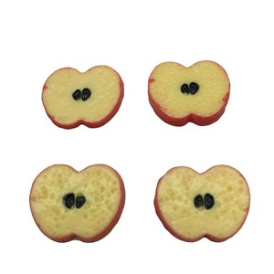 Wholesale 15mm Resin Mini Fruit Apple Slices Flat back Cabochons DIY Scrapbook Resin Simulation Food Home Decor