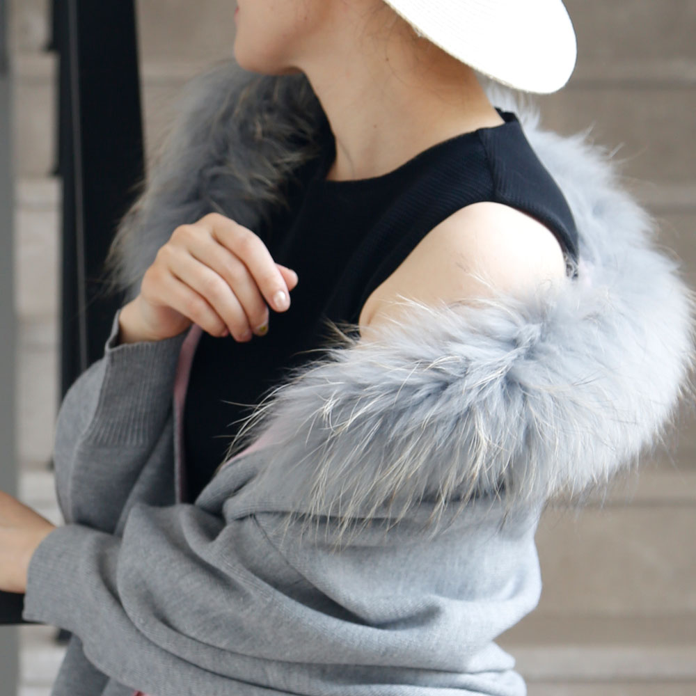 Wholesale classic style winter long two colors sides ladies's fur shrug with raccoon collar