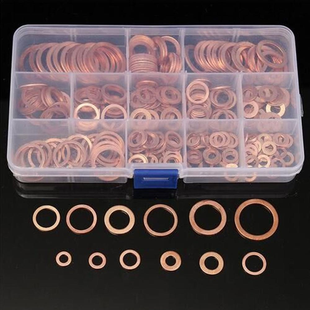 Assorted 110Pcs Solid Copper Crush Washers Seal Flat Oil Brake Ring 6 Size Kits