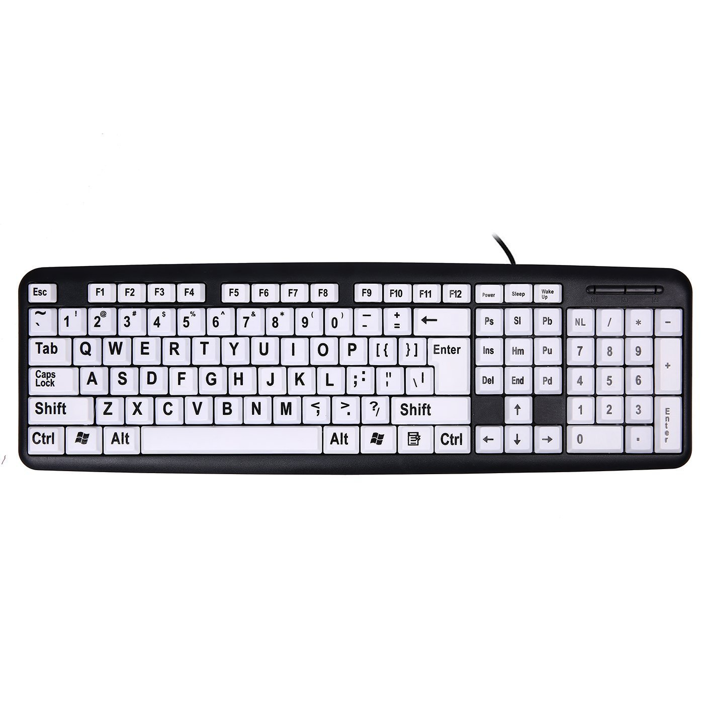 bf1c751fc25 Get Quotations · USB Wired Keyboard,Attoe Vision Keyboard with Large Print  Letter and White Keys & Black