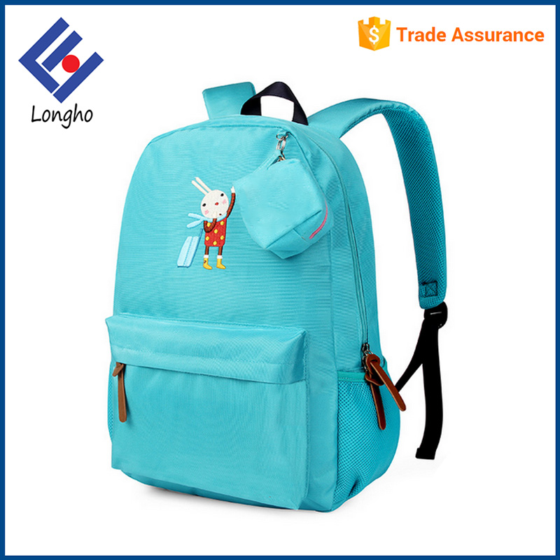Hot style blue children backpack for school cute rabbit printing kids school bag
