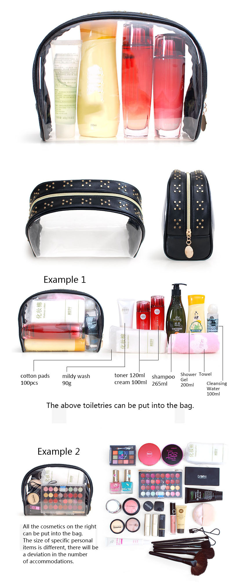 Custom Various style fashion ziplock transparent PVC clear cosmetic gift bag