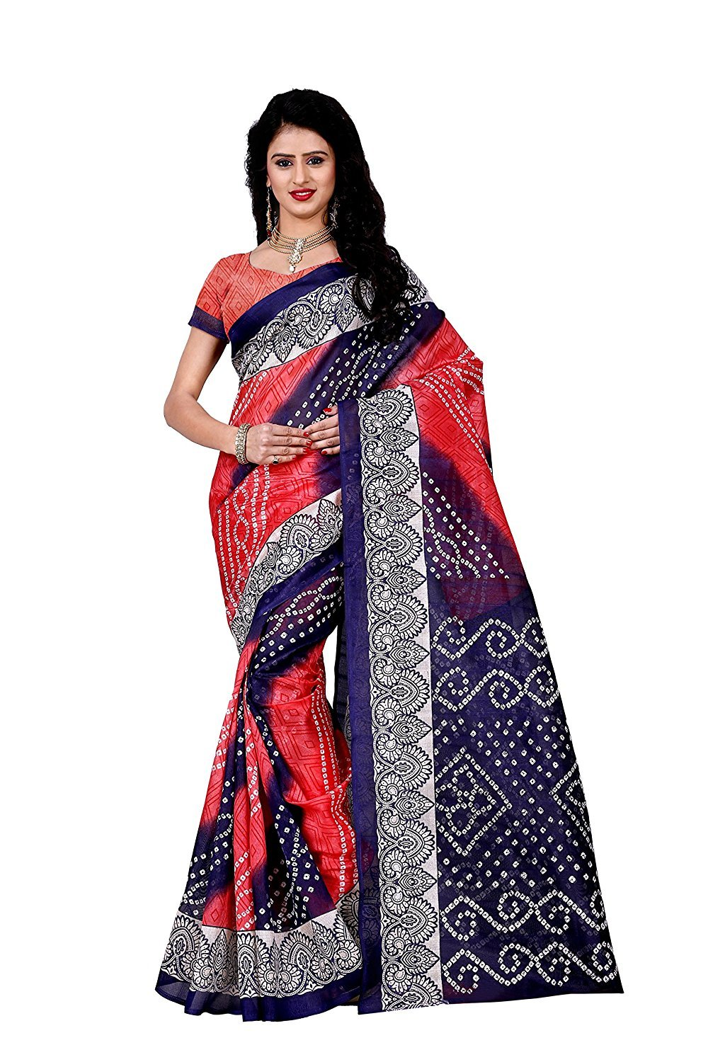 798f2f8dff0d0 Get Quotations · Shonaya Indian Women`S Party Wear Bhaglpuri Silk Saree  With Unstitched Blouse Piece (Pink