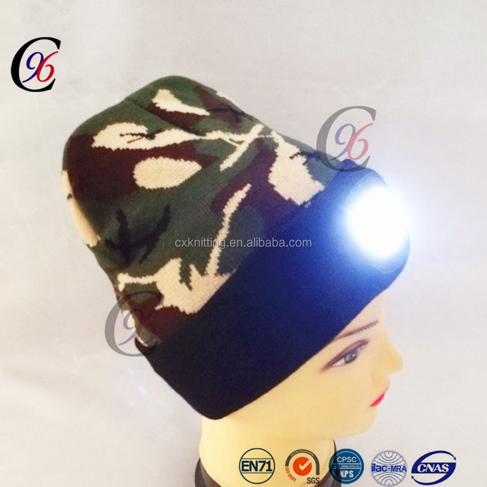 Chengxing brand 2017 Newest Rechargeable led beanie with lights hats camo winter beanie