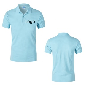 Polo neck short-sleeve blue corner t shirt with custom logo printing 100cotton for men man