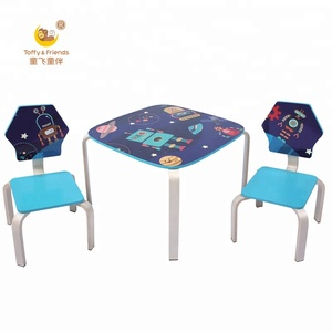Kids Wooden Table and Chairs Set Bent Wood Leg