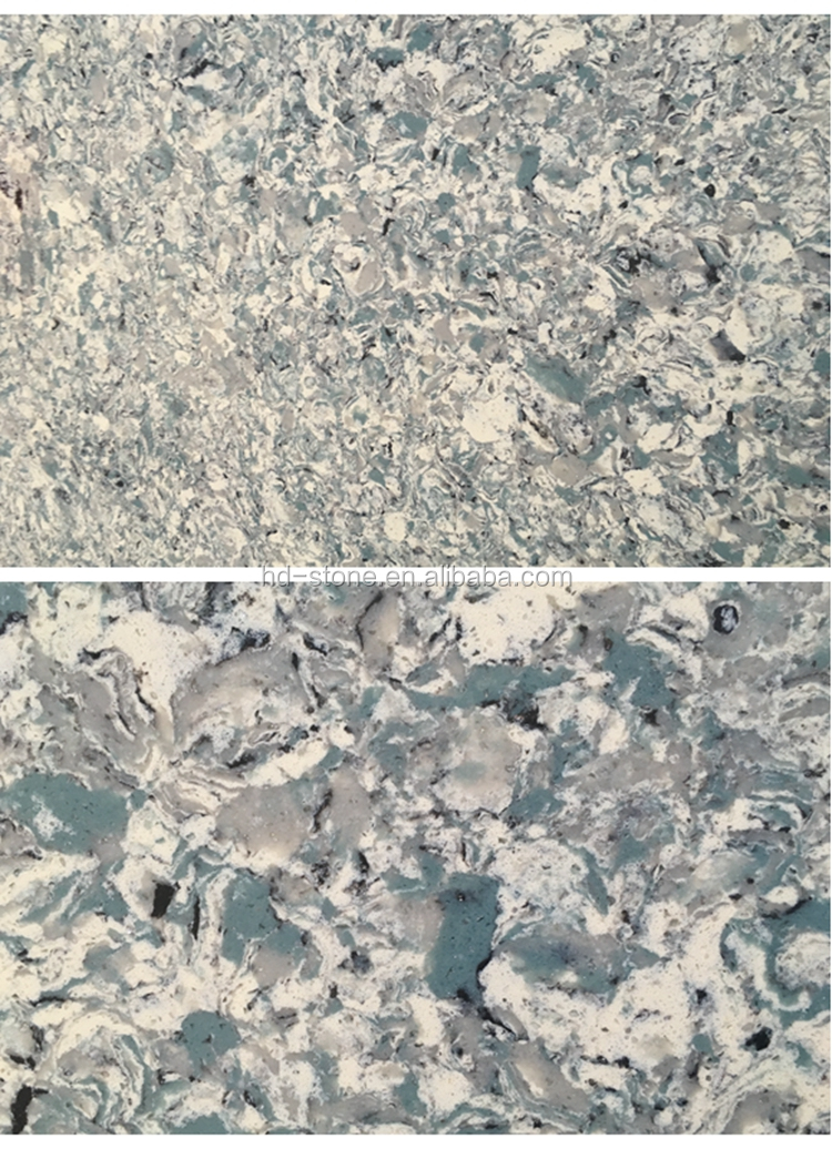Multicolor Green Crystal Polisheing Quartz Stone Slab Artificial Stone for Wall Floor and Countertop