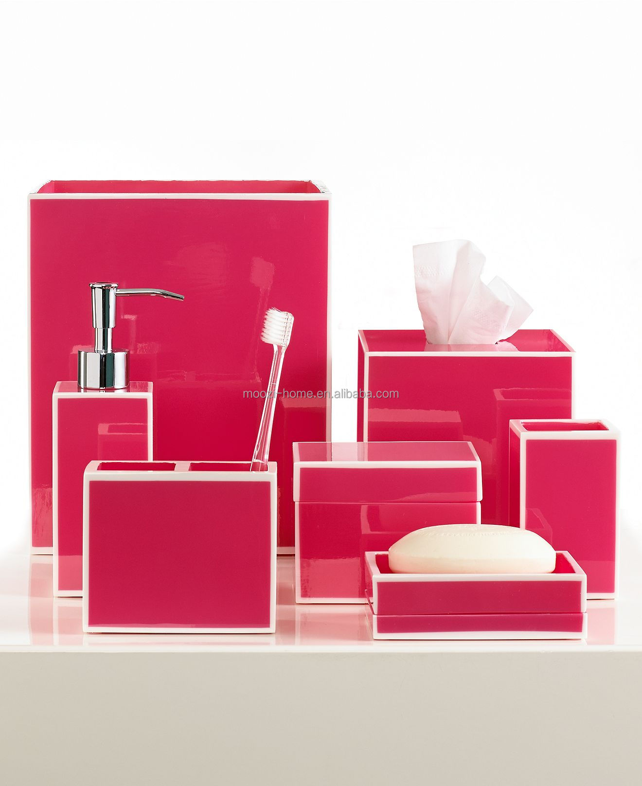 pink bathroom accessories set, pink bathroom accessories set