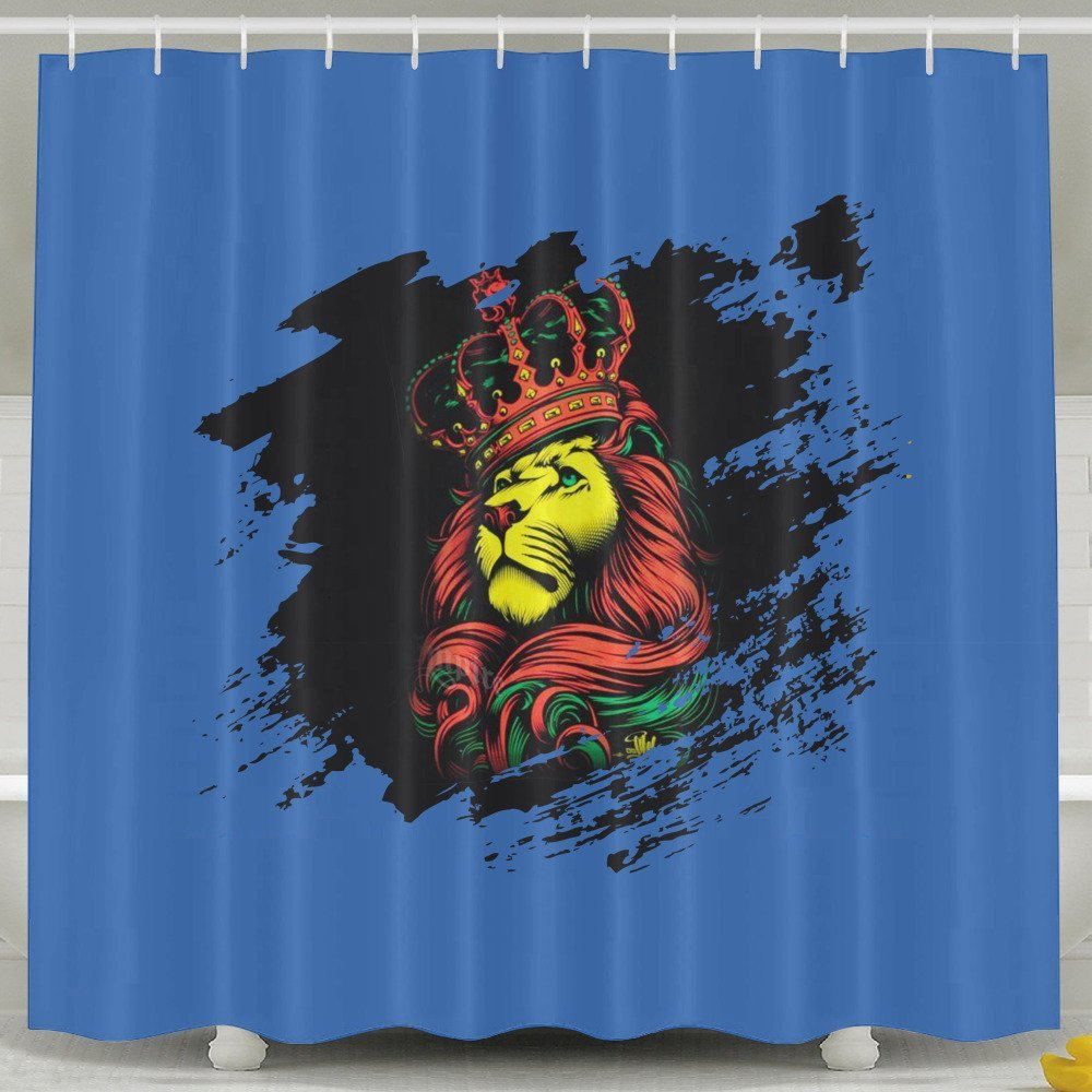 Get Quotations · Rasta Lion And Crown Shower Curtain Fabric Bathroom Shower  Curtain Set,72x60 Inch