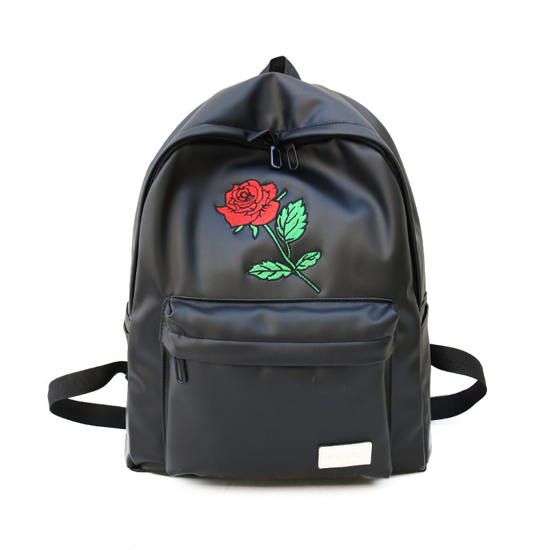 Embroidery Rose Women PU Leather Backpack Travelling Black Backpack