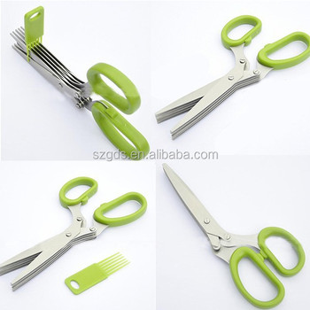 2015 FDA approved stainless steel kitchen multi-purpose shears scissors 5 layers herb scissors free sample