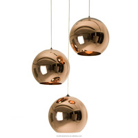 Modern LED Pendant Lamp with Copper Sliver Shade E27 Bulb Glass Ball Lighting