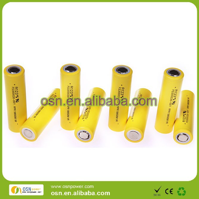 3.3V lithium ion battery A123 system APR18650M1A 30C 1100mah battery