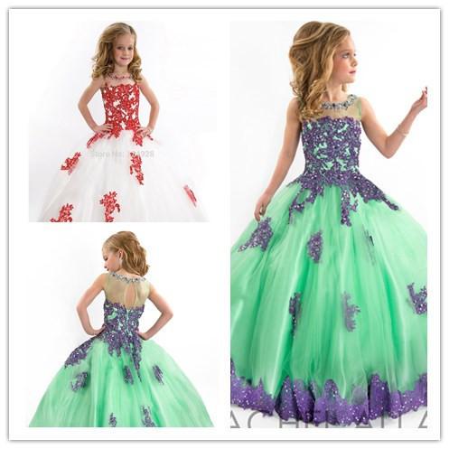 Get Quotations · 2015 Girls Pageant Dresses Ball Gown High Collar Blue  Green Red Beaded Baby Little Tutu Flower 6d2a7c3da551